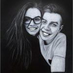 Porträt auf schwarzem Papier vom Foto